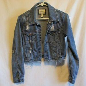 Forever 21 Cropped Distressed Denim Jacket